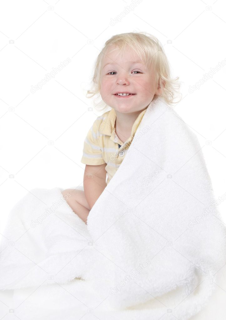 Baby Todller Boy Wrapped in a Bath Towel on White — Stock Photo #2204001