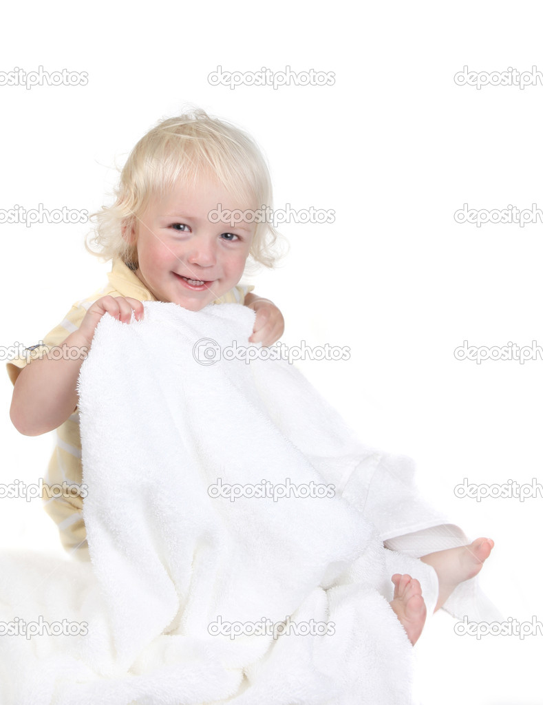 Silly Happy Kid Holding a Bath Towel Smiling on White — Stock Photo #2204009