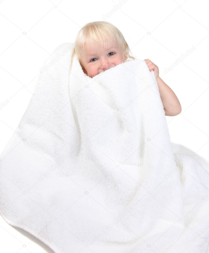 Happy Cute Baby Boy Holding Towel to His Face Smiling — Zdjęcie stockowe #2204014