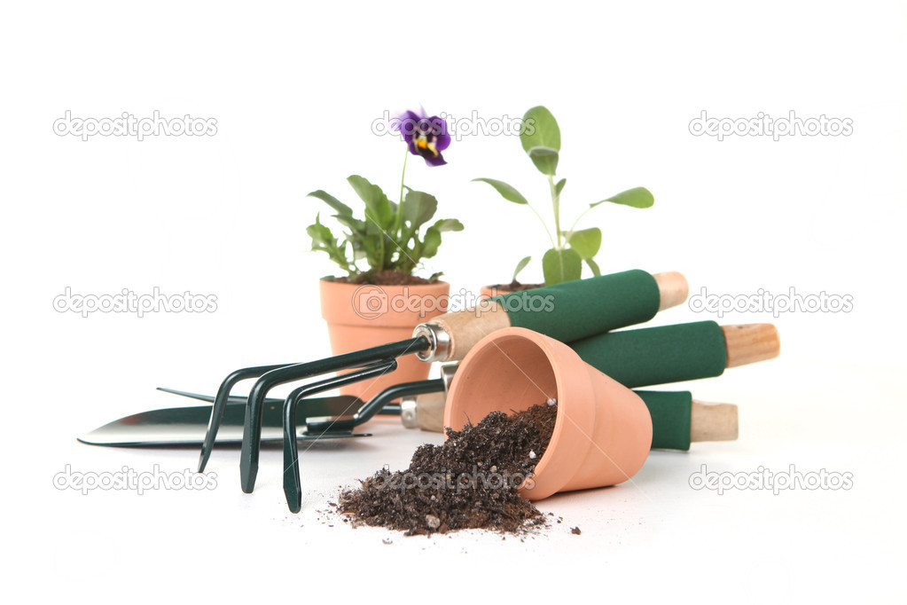 Multiple Handy Gardening Tools on White Background — Stock Photo #2204051