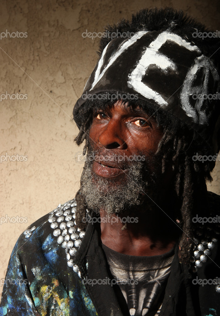 Stark Portrait of a Transient Homeless African American Man With Dredlocks — Stock Photo #2204108