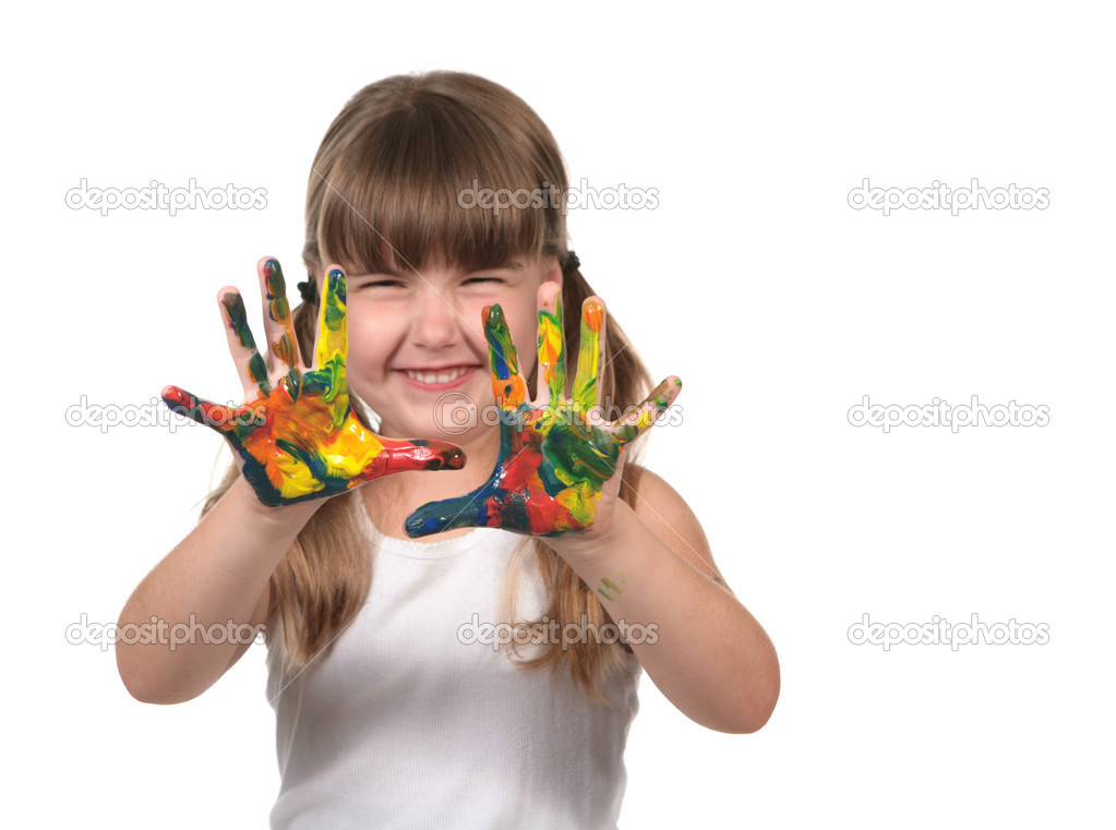Happy Preschool Child Finger Painting on White Background — Stock Photo #2204524