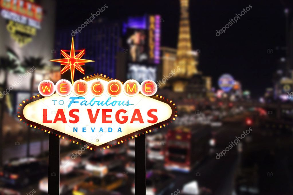 Welcome to Las Vegas Nevada With Strip in the Background — Foto de Stock   #2204592