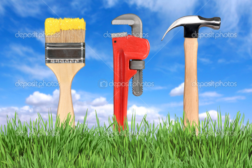 Household Home Improvement Tools Paintbrush, Pipe Wrench and Hammer  Stock Photo #2204624