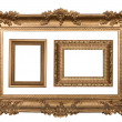 Stock Photo: 3 Decorative Gold Empty Wall Picture Fra
