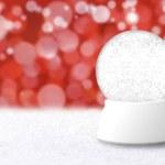 Empty Christmas Snow Globe With Blue Hol — Stock Photo