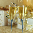 Beautiful Festive Champagne Flutes - Stock Photo