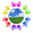 Global Concept of Handprints — Stock Photo