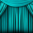 Stock Photo: Abstract Teal Theatre Stage Drape Backgr