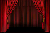 Horizontal Stage Drapes Open For Present — Stock Photo
