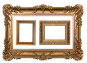 3 Decorative Gold Empty Wall Picture Fra — Stock Photo