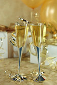 Beautiful Festive Champagne Flutes — Stock Photo