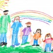 Stock Photo: Kids Primitive Crayon Drawing of Famil