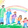 Kids Primitive Crayon Drawing of a Famil — Photo