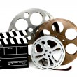 Movie Production Clapper and Film Tins o — Stock Photo