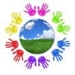 Global Concept of Childrens Handprints — Stock Photo