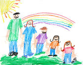 Kids Primitive Crayon Drawing of a Famil — Stock Photo