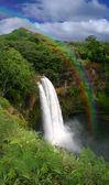 Waterfall in Kauai Hawaii With Rainbow — Stock Photo