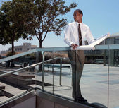 African American Architect Outdoors Look — Stock Photo