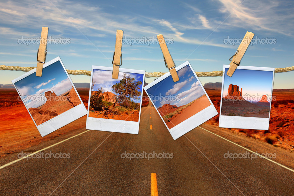 Conceptual Montage Representing Vacation Travel With Polaroid Photos of Moument Valley Desert Hanging on a Rope  — Stock Photo #2268163