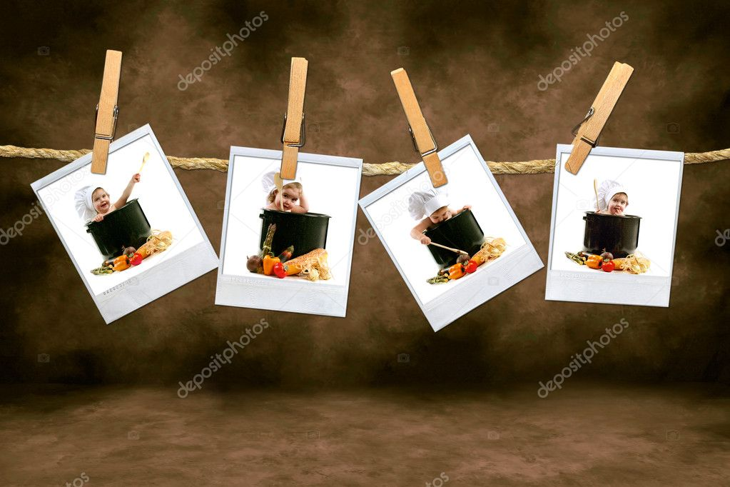 Adorable Chef Babies on Polaroid Film Hanging on a Rope  Stock Photo #2269367
