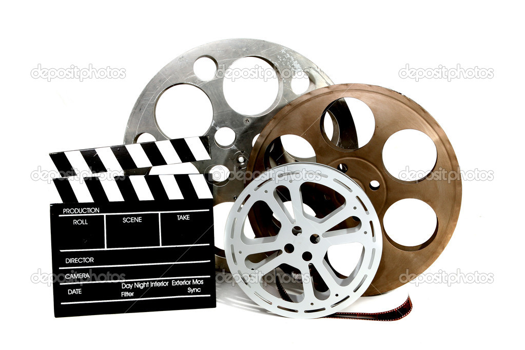 Film Canisters With Directors Clapboard on White Background — Stock Photo #2269387