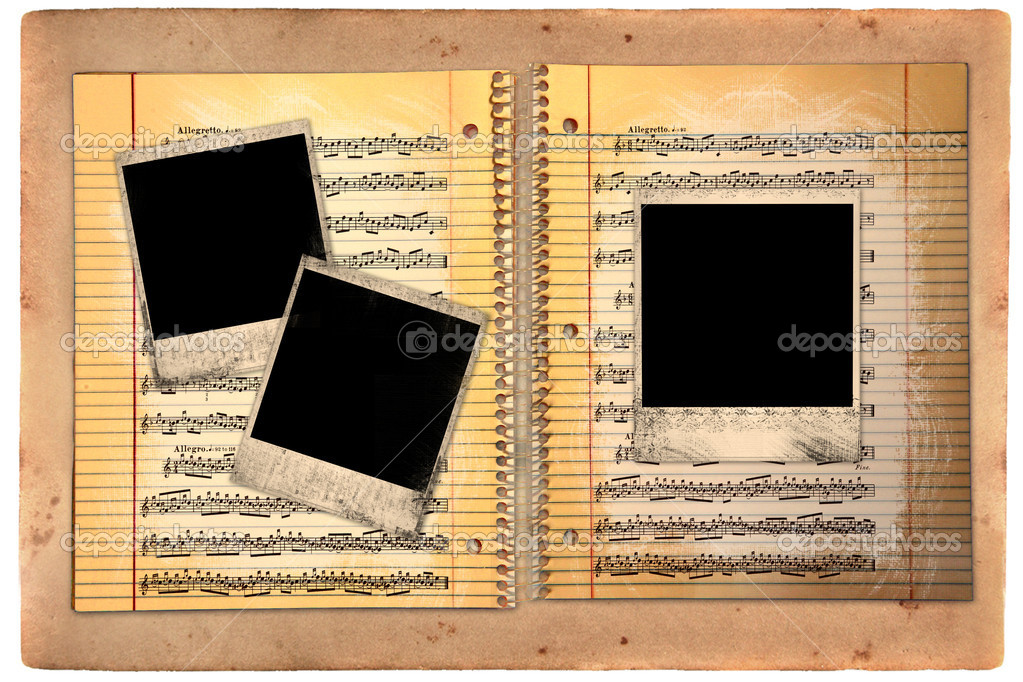 Distressed Lined School Paper With Blank Polaroid Film Blanks — Foto Stock #2269402