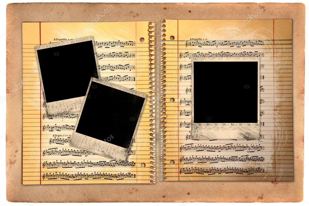Distressed Lined School Paper With Blank Polaroid Film Blanks  Foto de Stock   #2269402
