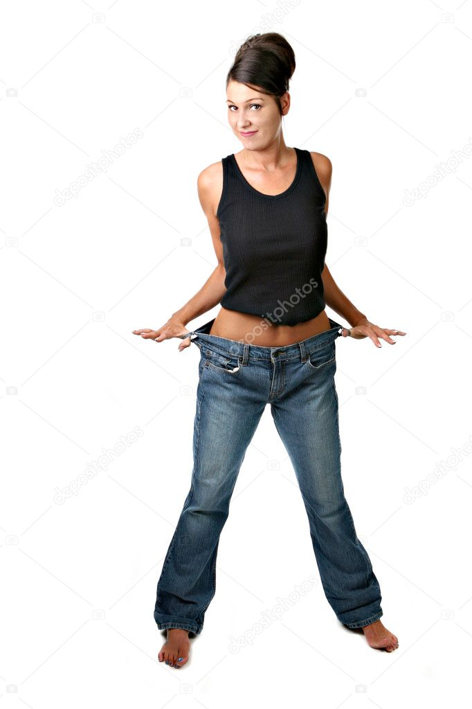 Happy Female Who Met Her Weight Loss Goals and is Elated — Stock Photo #2269431