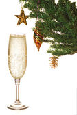 Christmas tree and champagne — Stock Photo