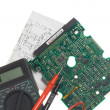 Printed circuit board, schematic and mul — Stock Photo