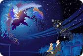 gazing at the starry sky, Planetarium — Stock Vector