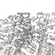 3d sketch monochrome architecture — 图库照片