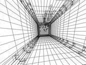 3d sketch monochrome architecture — Stock Photo