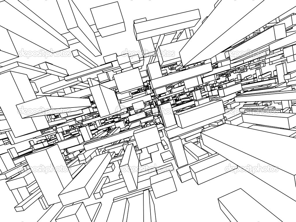 3d sketch monochrome architecture stock photo for Line drawing wallpaper