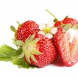 Fresh strawberries isolated — Stock Photo