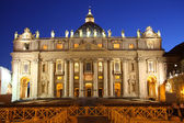Saint Peters Basilica at night — Stock Photo