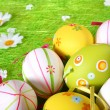 Pastel and colored Easter eggs — Stock Photo
