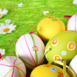 Stock Photo: Pastel and colored Easter eggs