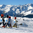 Stock Photo: Young boys skiing