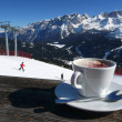 Stock Photo: Nice warm cup of cappuccino of the snowy