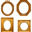 Four antique picture frames — 图库照片