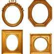 Four antique picture frames - Stock Photo