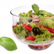 Salad bowl with fresh salad and tomato — Stock Photo
