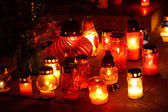 Closeup of votive candles — Stock Photo