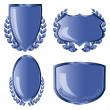 Blue shields with laurel wreath - Stock Vector
