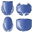 Stock Vector: Blue shields with laurel wreath