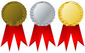 Vector gold, silver and bronze award rib — Stock Vector