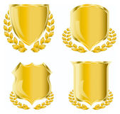 Golden shield with laurel wreath — Stock Vector