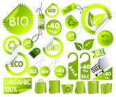 Gran conjunto de iconos del medio ambiente verdes — Vector de stock